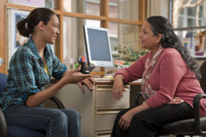 Female student talking with advisor