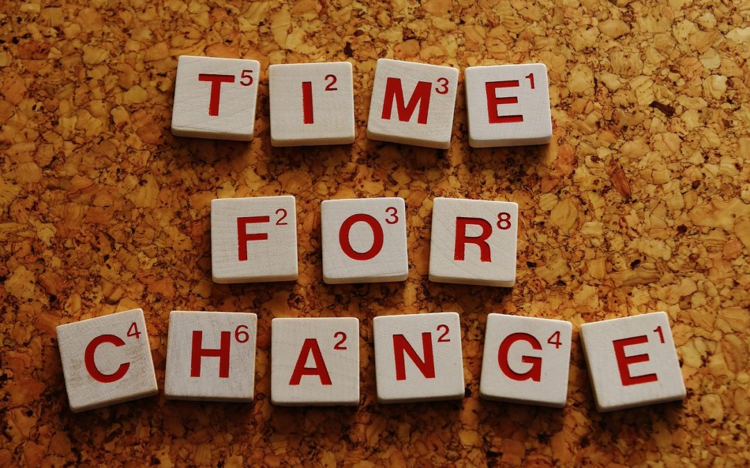 """Time for Change"" written out in scrabble letter pieces"