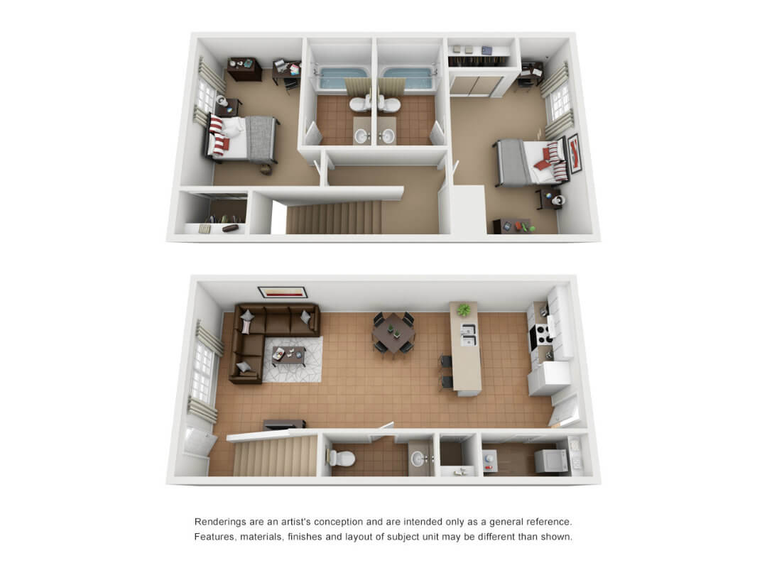 Floor plan of a 2 bed, 2.5 bath student townhouse