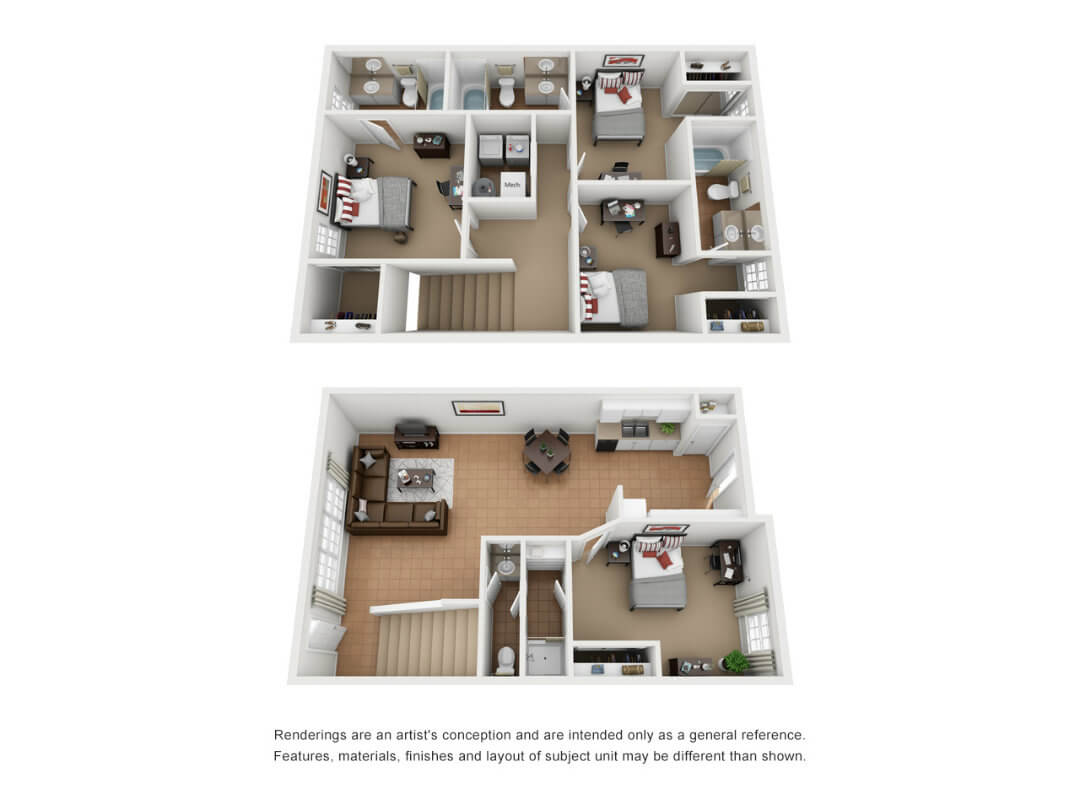 Floor plan of a 4 bed, 4 bath student townhouse